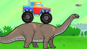 100 Dinosaur Monster Truck In Land Adventure And Stunts Video For