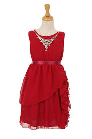 Red Sleeveless Chiffon Dress With Detachable Necklace Girl