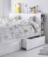 BRIMNES Bed frame with storage & headboard white Lönset