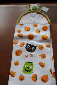 Dish Towels Kmart Kitchen Halloween Print Paper And Purple Bench