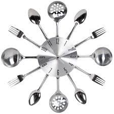 montre de cuisine horloge en métal effet chromé d 38 cm ustensiles déco