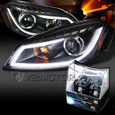 06 13 chevy impala black led drl bar projector headlights h1