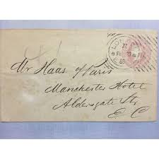 1800s London Original Postmarked Handwritten Envelope With Letter