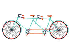 Flat Tandem Bicycle Illustration On White Background Bike Styl Ish Vector