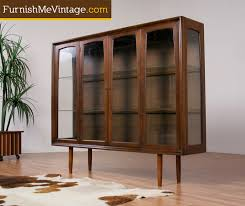 Mid Century Modern Lighted Walnut China Cabinet