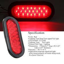 100 Semi Truck Led Lights AMBOTHER 2pcs 6 22LED Oval Red StopTurn SignalBrakeMarkerTail
