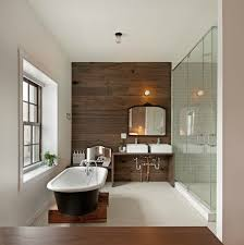 wood plank accent wall contemporary bathroom anthony tahlier