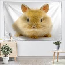 benutzerdefinierte kaninchen tiere tapisserie gedruckt kreative wohnzimmer schlafzimmer hintergrund wand stoff hängen malerei kleine frische