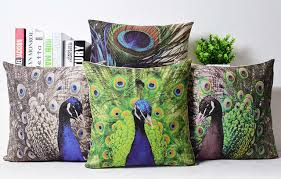 Beautiful Peacock Decorative Cushion Covers Linen Peacock Feather