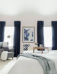 Gorgeous Master Bedroom With Dramatic Navy Drapes Its So Glam And Cozy At The Same