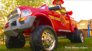 100 Power Wheels Fire Truck Childrens Avigo Dodge Ram 3500 Ride On Unboxing