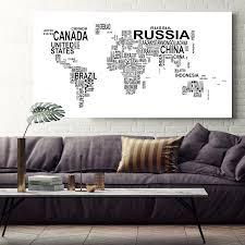 heiße verkäufe schwarz weiß brief weltkarte leinwanddruck malerei poster über größe 78x156 cm wandbild für wohnzimmer wohnkultur
