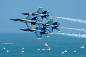 Breitling aerial thrill show with Blue Angels vintage aircraft