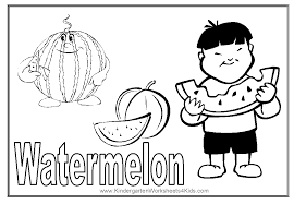 Watermelon Coloring Page With A Picture Of Boy Eating