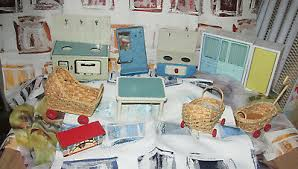 puppenstube puppenmöbel küche herd tisch schränke 60 70er