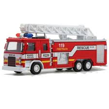 100 Fire Truck Sirens Toy For Kids Children Gift Alloy Pullback With Light