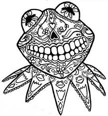 Free Day Of The Dead Kermit Adult Colouring Sheet