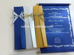 Royal Blue Scroll Wedding Invitation Card With Box