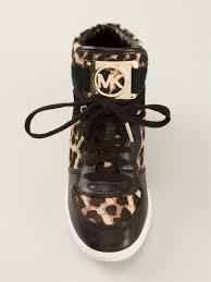 michael michael kors leopard print concealed wedge sneakers in