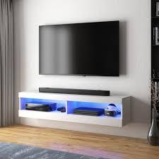 selsey tv lowboard viansola hängend stehend in weiß mit hochglanzfronten und led beleuchtung 100 cm