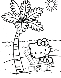 Hello Kitty Easter Coloring Pages Printable On The Beach Page Girls Cartoon Free Face Print Pictures