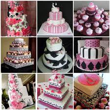 black white pink wedding cake ideas
