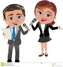 Man And Woman Reporters At Work Stock Vector
