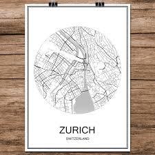 zürich schweiz schwarz weiß world city karte drucken poster beschichtetes papier für cafe wohnzimmer dekoration wandkunst aufkleber