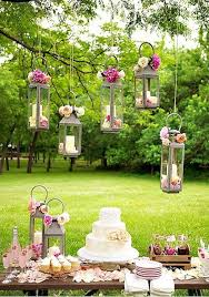 Love The Lanterns Hanging On Trees Clean Rustic And Outdoors Bridal Shower Decoration PartyOutdoor