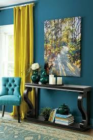 wandfarbe petrol gelbe gardinen eleganter teppich schöne