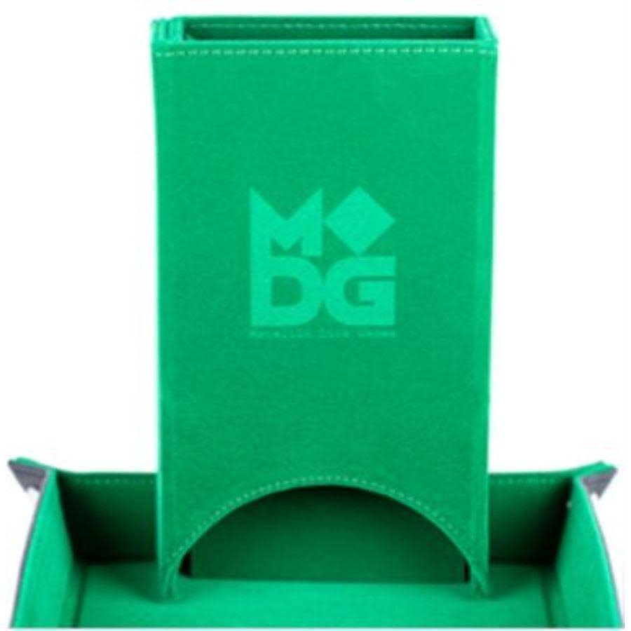 Metallic Dice Games Fold Up Velvet Dice Tower - Green
