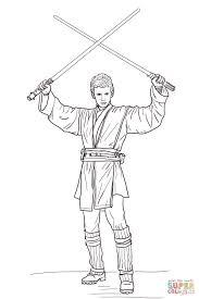 Coloriage Anakin Skywalker Avec Deux Sabres Lasers Coloriages À