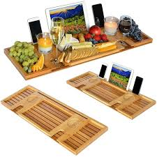 bamboo bathtub caddy tray with reading rack tablet holder