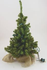 Christmas Trees Prelit by Lit Artificial 18 Inch Pine Tree Burlap Sack Base Tabletop