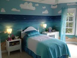 Creative Contemporary Bedroom Design With Nature Beach Themed Ideas By Sea Pattern Wall Paper Matched A Splendid Blue