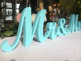 Head Table Mr Mrs Sign Painted In Royal Blue Wedding Decoration And Wooden Letters For Sweetheart