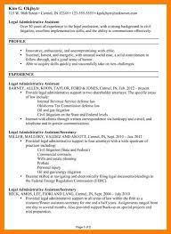 Legal Assistant Resume Samplelegal Resumes 15 Example For Administrative Pg1
