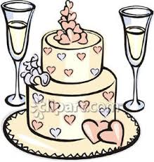 Two Glasses of Champagne and a Wedding Cake Royalty Free Clipart Picture