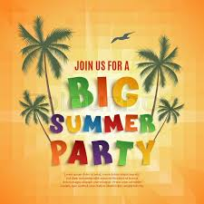 Big Summer Party Poster Template On Orange Background With Palms And Seagull Vector Illustration