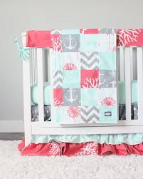 Coral And Mint Baby Bedding by Ocean Baby Crib Bedding Coral Mint Gray Baby Bedding Set