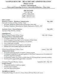 Business Administration Resume Template Healthcare Samples Hospital Administrator Student Sample