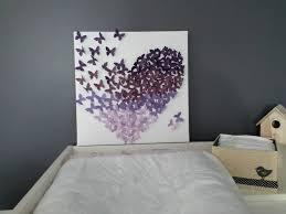 toile papillons 3d en relief dégradé de violet chambre d enfant