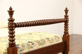 SOLD Country Cherry & Walnut 1860 Antique Full Size Bed Spool