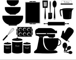 Kitchen Baking Clipart Digital Baking Digital Kitchen Black Silhouette Vector