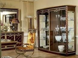 details zu edle vitrine antik stil barock rokoko schaufenster wohnzimmer glas schrank neu