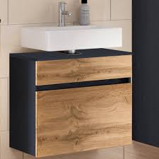 lomadox unterschrank lourosa 03 badezimmer waschtischunterschrank mit auszug in graphitgrau mit wotaneiche nb b h t ca 60 55 35 cm kaufen