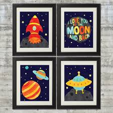 i love you to the moon and back outer space nursery art set of