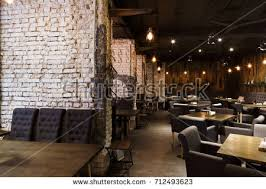 Interior Of Modern Restaurant Contemporary Design In Loft Style Big Cozy Hall With Tables