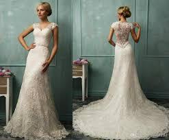 Vintage Lace Wedding Dresses Cap Sleeve Bridal Gowns