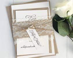 Rustic Wedding Invitations Lace Invitation Country Kraft